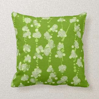 Almofada Travesseiro espiral verde e branco das flores