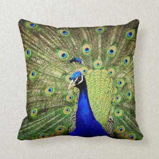 Almofada Travesseiro exótico azul do pássaro do verde das