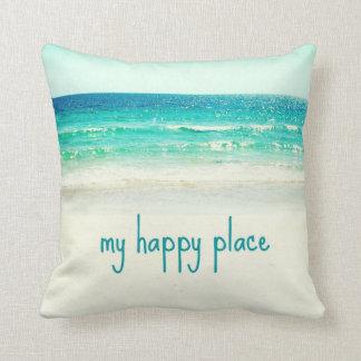 Almofada Travesseiro feliz da palavra do lugar da praia