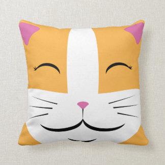 Almofada Travesseiro feliz do gato - laranja & branco