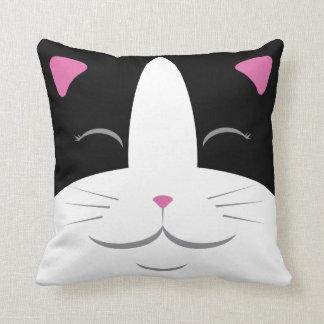Almofada Travesseiro feliz do gato - preto & branco