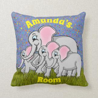 Almofada Travesseiro feliz do quadrado dos elefantes
