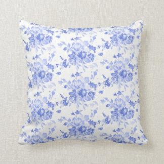 Almofada Travesseiro floral azul do teste padrão
