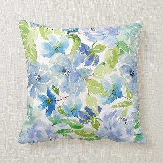 Almofada Travesseiro floral da aguarela azul e verde