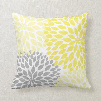 Almofada Travesseiro floral da dália cinzenta amarela