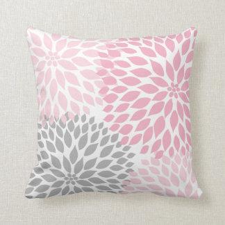 Almofada Travesseiro floral da dália cinzenta cor-de-rosa