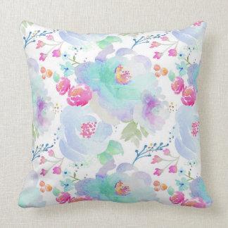Almofada Travesseiro floral dos azuis da flor de Indy