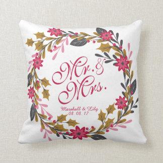 Almofada Travesseiro floral personalizado do casamento do