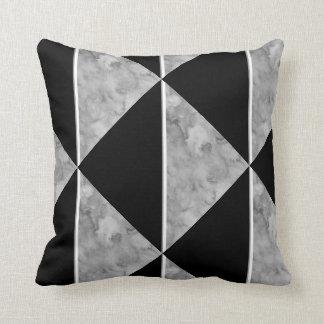 Almofada Travesseiro geométrico do bloco preto e cinzento