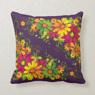 Almofada Travesseiro multi-colorido floral na cor roxa