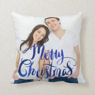 Almofada Travesseiro personalizado azul da foto do Feliz