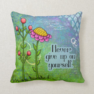 Almofada Travesseiro positivo adorável da flor do Doodle do