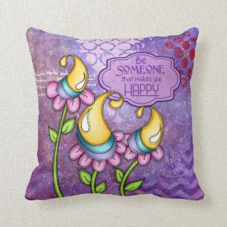 Almofada Travesseiro positivo da flor do Doodle do