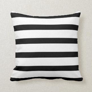 Almofada Travesseiro preto & do branco das listras do