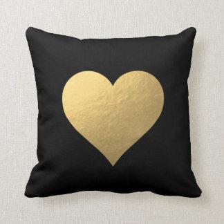 Almofada Travesseiro preto do coração do ouro