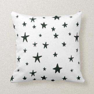 Almofada Travesseiro preto e branco das estrelas