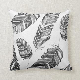 Almofada Travesseiro preto e branco do impressão da pena
