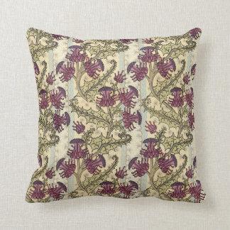 Almofada Travesseiro roxo da flor do cardo de Nouveau da