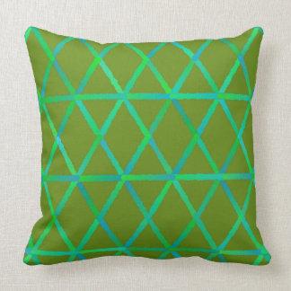 Almofada Travesseiro verde e azul dos triângulos