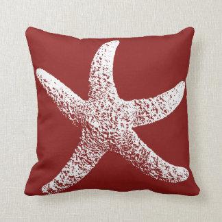 Almofada Travesseiro vermelho e branco da estrela do mar