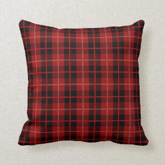 Almofada Travesseiro vermelho e preto da xadrez