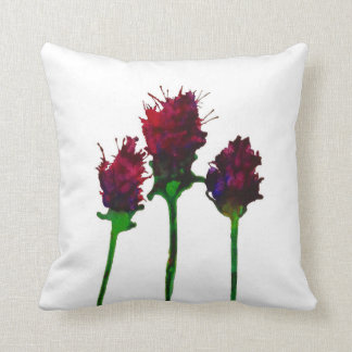 Almofada Três flores roxas bonito impressas no algodão 100%