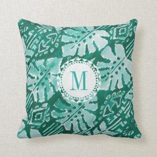 Almofada Tropical verde havaiano da SELVA IKAT do monograma