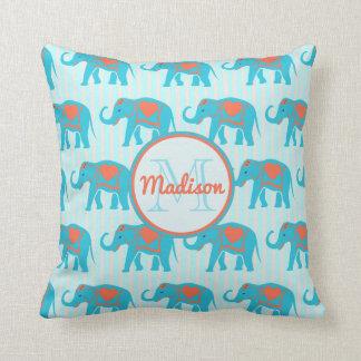 Almofada Turquesa da cerceta, elefantes azuis no nome da