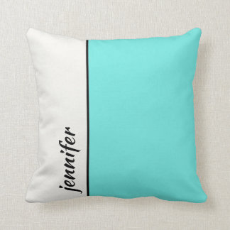 Almofada Turquesa e bloco branco da cor com seu nome