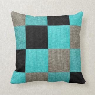 Almofada Turquesa & travesseiro preto do tabuleiro de damas