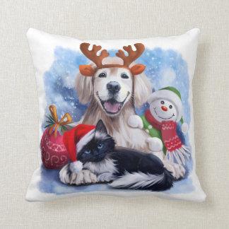 Almofada Um cão, um gato e um boneco de neve