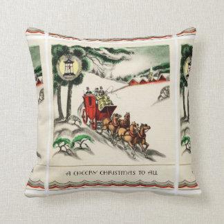 Almofada Um Natal animador do cavalo e da carruagem