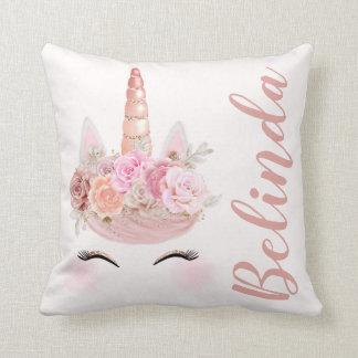 Almofada Unicórnio cor-de-rosa personalizado do ouro floral