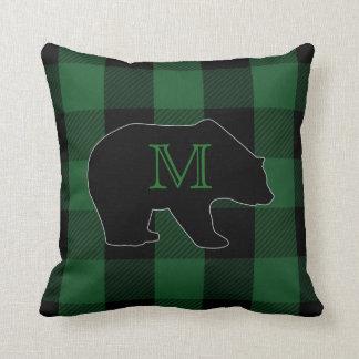 Almofada Urso do monograma do verde | do lenhador da
