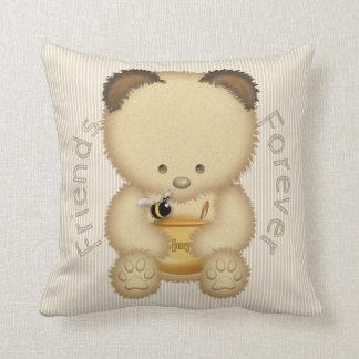 Almofada Urso e abelha de mel bonito dos melhores amigos