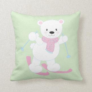 Almofada Urso polar dos desenhos animados bonitos em esquis