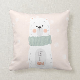 Almofada Urso polar - o deixe nevar - inverno bonito/Natal