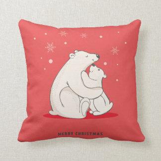 Almofada Ursos polares do Natal vermelho bonito
