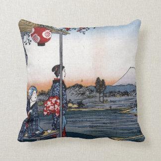 Almofada Utagawa Hiroshige o Teahouse com vista Monte Fuji