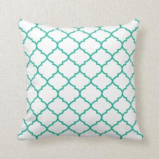 Almofada Verde de Pantone no travesseiro geométrico branco