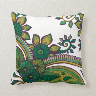 Almofada Verde e teste padrão floral da mandala da terra de