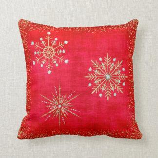 Almofada Vermelho dos flocos de neve do Natal & brilho do