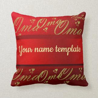 Almofada vermelho dourado do modelo do texto do oma
