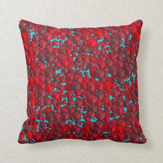 Almofada Vermelhos dos cubos e travesseiro azul
