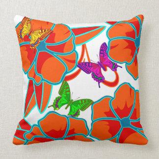 Almofada Vetor. flores e borboletas abstratas