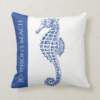 Almofada Vida marinha do cavalo marinho azul