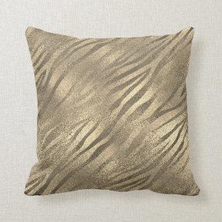 Almofada Vidro do Sepia da pele animal da zebra do ouro do