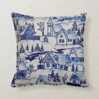 Almofada Vila velha do feriado inverno azul/branco do