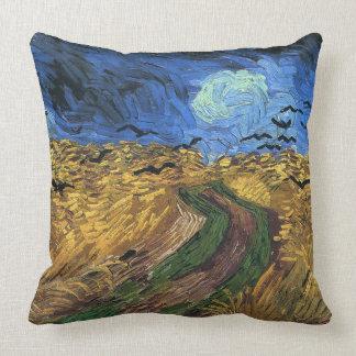 Almofada Vincent camionete Gogh-Wheatfield com corvos