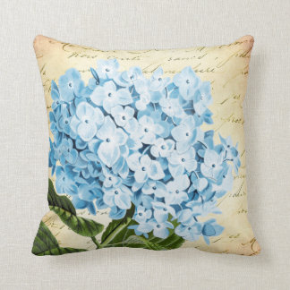 Almofada Vintage azul da flor do Hydrangea botânico